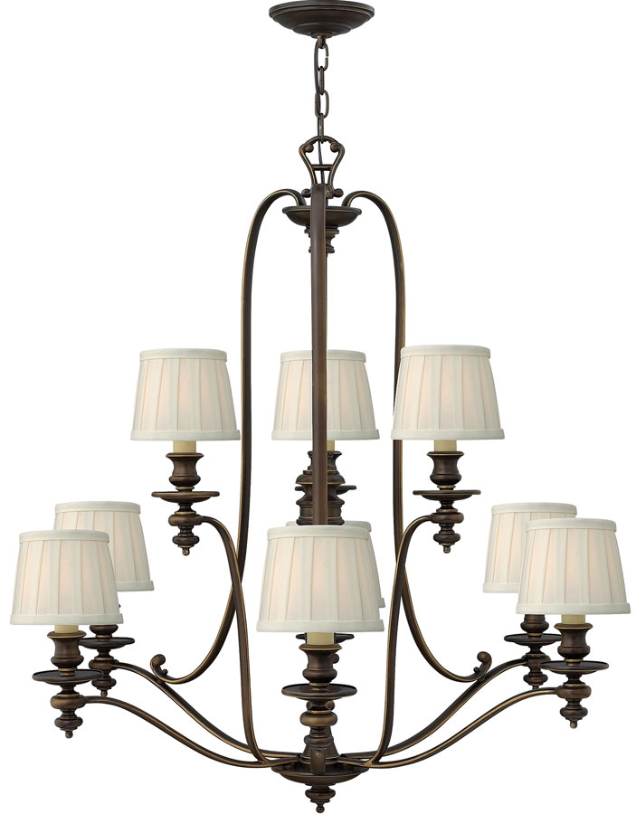 Hinkley dunhill royal bronze 9 light chandelier with off white hinkley dunhill royal bronze 9 light chandelier with off white shades aloadofball Image collections