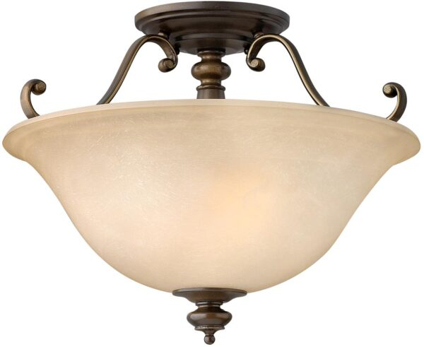 Hinkley Dunhill Royal Bronze 2 Light Semi Flush With Alabaster Glass