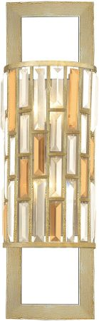 Hinkley Gemma Luxury Tall 2 Light Crystal Wall Lamp Silver Leaf