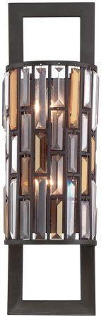 Hinkley Gemma Luxury Tall 2 Light Crystal Wall Lamp Vintage Bronze