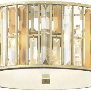 Hinkley Gemma Luxury 3 Lamp Crystal Drum Flush Light Silver Leaf