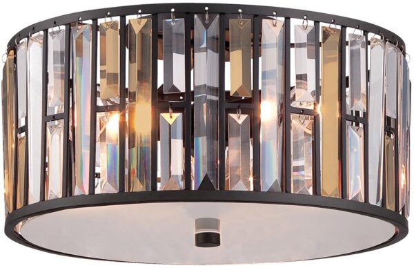 Hinkley Gemma Luxury 3 Lamp Crystal Drum Flush Light Vintage Bronze
