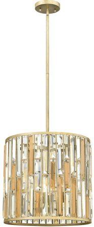 Hinkley Gemma Luxury 3 Light Crystal Cylinder Pendant Silver Leaf