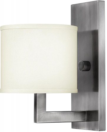 Hinkley Hampton Modern Single Wall Light Antique Nickel Linen Shade