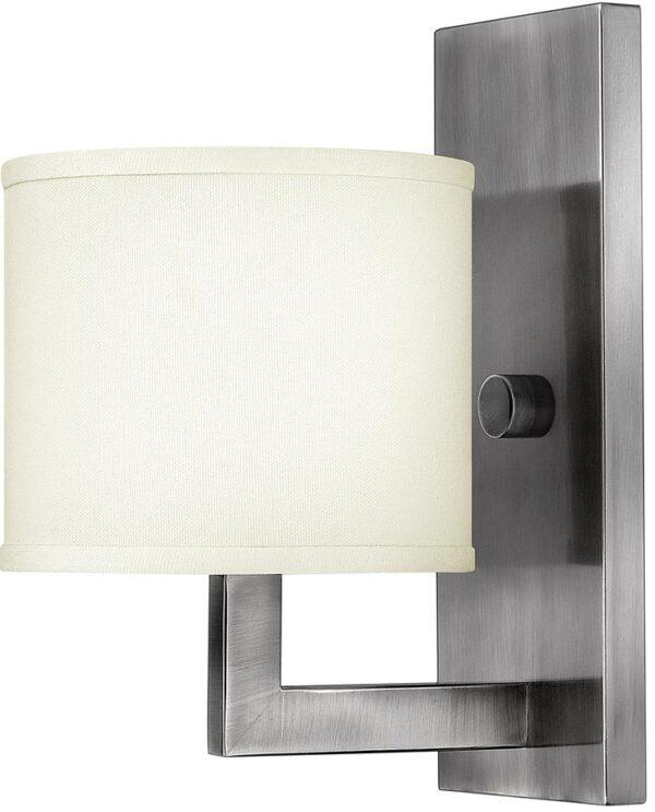 Hinkley Hampton Modern Single Wall Light Antique Nickel Linen Shade