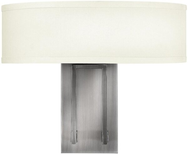 Hampton Modern Linen Shade 2 Lamp Antique Nickel wall Light
