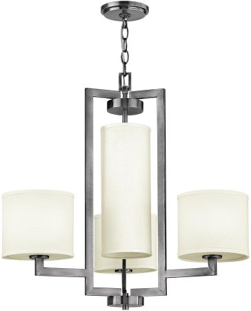 Hinkley Hampton Antique Nickel 4 Light Linen Shade Chandelier