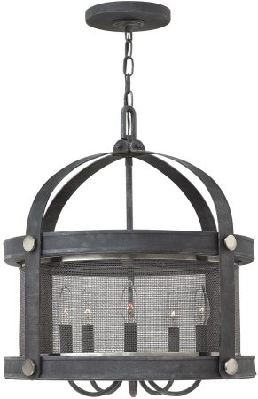 Hinkley Holden Aged Zinc 5 Lamp Industrial Pendant Light