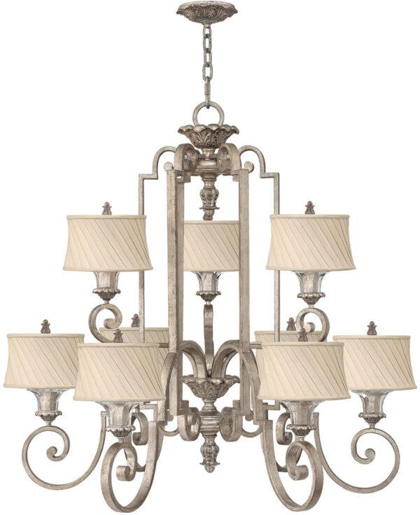 Hinkley Kingsley Large 9 Light Designer Chandelier Silver Leaf