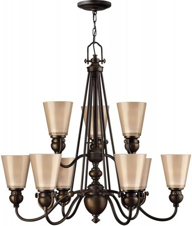Hinkley Mayflower Large Olde Bronze 9 Light Chandelier With Amber Shades
