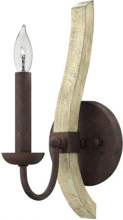 Hinkley Middlefield Iron Rust 1 Lamp Wall Light With Wood Detail