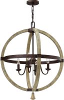 Hinkley Middlefield 4 Light Wooden Globe Pendant Chandelier