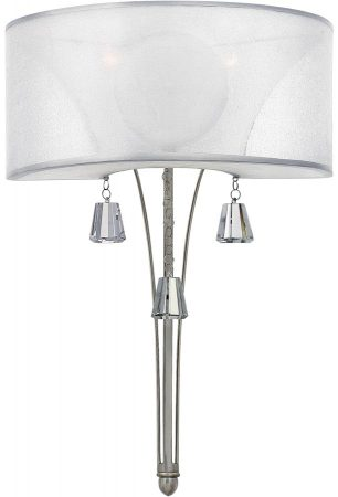 Hinkley Mime 2 Light Wall Light Brushed Nickel Sheer Fabric Crystal