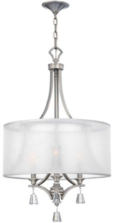Hinkley Mime Sheer Fabric 3 Light Chandelier Brushed Nickel