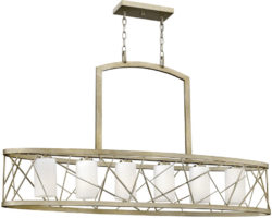 Hinkley Nest Silver Leaf 6 Light Oval Chandelier With Etched Shades