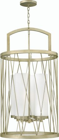 Hinkley Nest Silver Leaf 4 Light Pendant Chandelier With Etched Shades
