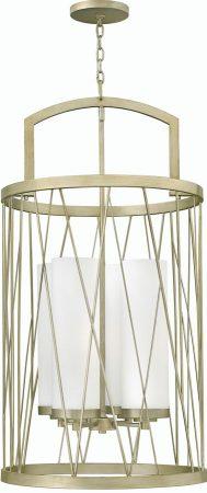 Hinkley Nest 4 Light Pendant Chandelier Silver Leaf Etched Glass