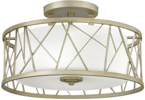 Hinkley Nest Silver Leaf Semi Flush 3 Light With Etched Glass Shade