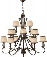 Hinkley Plymouth Large 15 Light Old Bronze Chandelier With Amber Shades