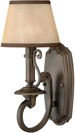 Hinkley Plymouth Old Bronze Wall Light With Amber Organza Shade