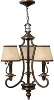 Hinkley Plymouth 3 Light Old Bronze Chandelier With Amber Shades