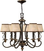 Hinkley Plymouth 6 Light Old Bronze Chandelier With Amber Shades