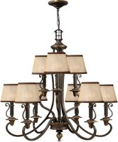 Hinkley Plymouth 9 Light Old Bronze Chandelier With Amber Shades