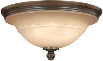 Hinkley Plymouth Flush Old Bronze 3 Light Ceiling Light Mocha Glass