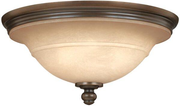Hinkley Plymouth Flush Old Bronze 3 Light Ceiling Light Mocha Glass