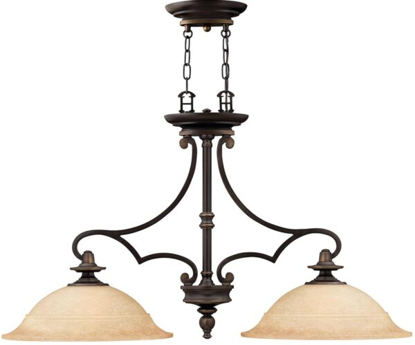 Hinkley Plymouth Old bronze 2 Light Chandelier With Mocha Glass