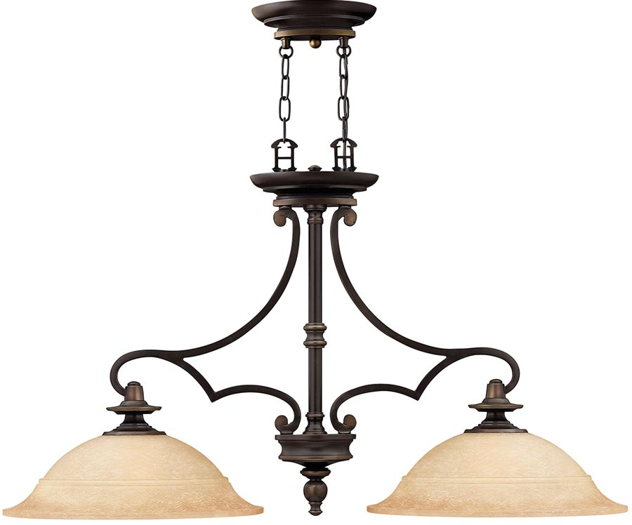 Hinkley Plymouth Old Bronze 2 Light Chandelier With Mocha