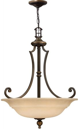 Hinkley Plymouth 3 Light Old Bronze Pendant With Mocha Glass Shade