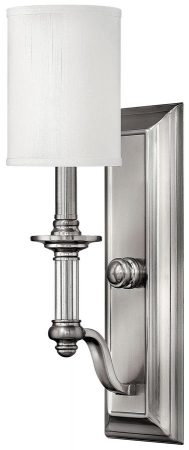 Hinkley Sussex Brushed Nickel 1 Lamp Wall Light With White Shades