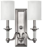Hinkley Sussex Brushed Nickel 2 Lamp Wall Light With White Shades
