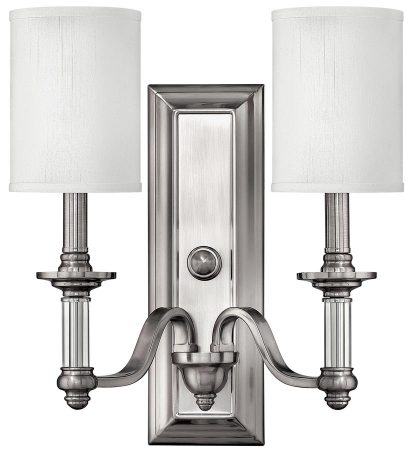 Hinkley Sussex Double Wall Light Brushed Nickel Georgian Style