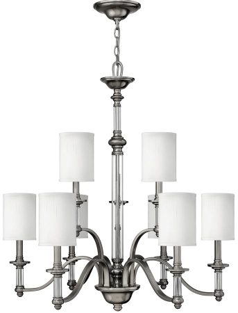 Hinkley Sussex Brushed Nickel 9 Light Chandelier With White Shades
