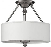 Hinkley Sussex Brushed Nickel 3 Light Semi Flush With White Shade
