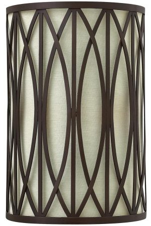 Hinkley Walden 2 Light Wall Light Victorian Bronze Linen Shade