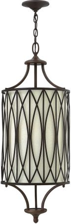 Hinkley Walden 3 Light Pendant Victorian Bronze Linen Shade