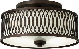Hinkley Walden Flush 3 Light With Linen Inner Shade Victorian Bronze