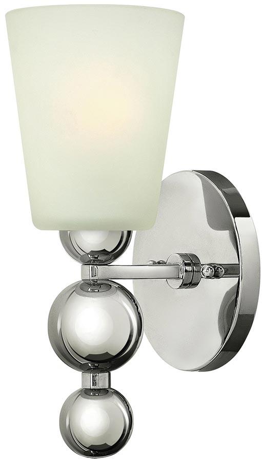 Hinkley Zelda 1 Lamp Wall Light Polished Nickel Etched Glass
