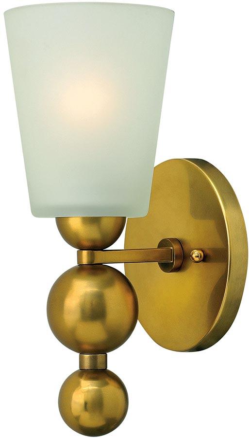 Hinkley Zelda 1 Lamp Wall Light Vintage Brass Etched Glass