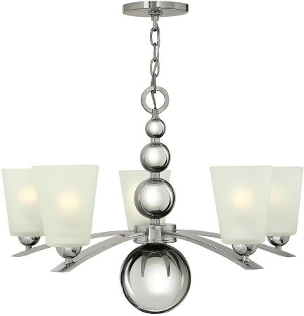 Hinkley Zelda 5 Light Chandelier Polished Nickel Etched Glass