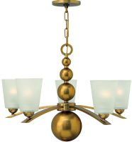 Zelda Vintage Brass 5 Light Modern Glass Shade Chandelier