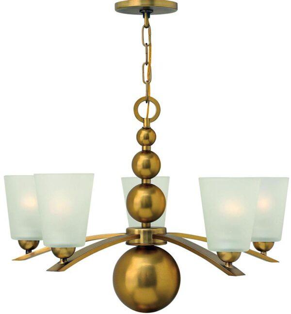 Hinkley Zelda 5 Light Chandelier Vintage Brass Etched Glass