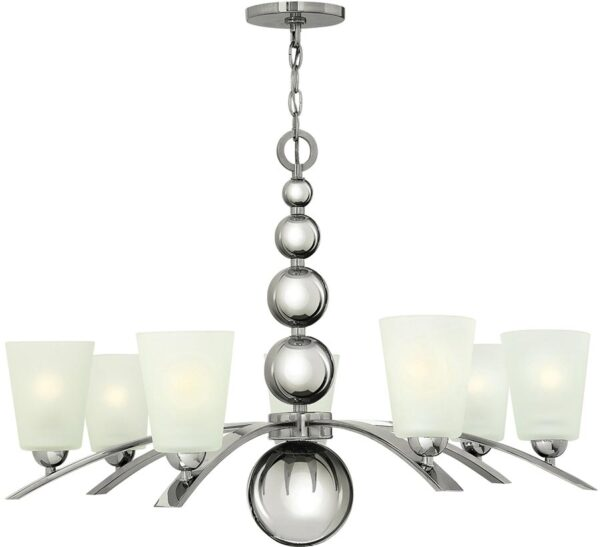 Hinkley Zelda 7 Light Large Chandelier Polished Nickel Etched Glass