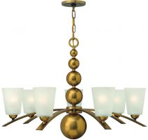 Zelda Vintage Brass 7 Light Modern Glass Shade Chandelier