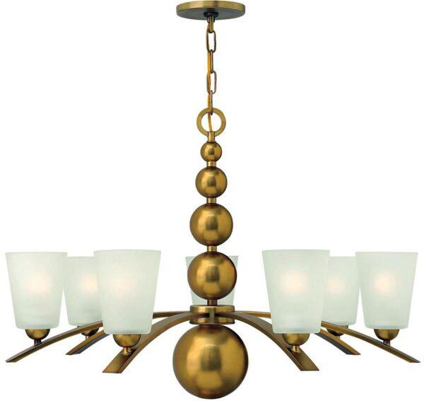 Zelda Vintage Brass 7 Light Modern Glass Shade Chandelier