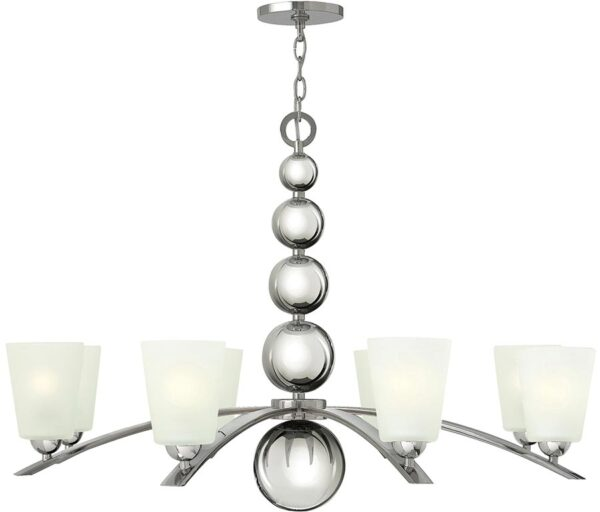 Zelda Polished Nickel Large 8 Light Glass Shade Chandelier