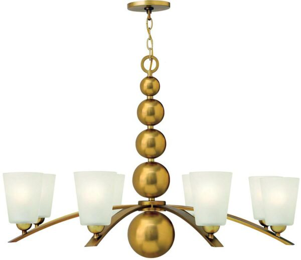 Zelda Vintage Brass Large 8 Light Glass Shade Chandelier